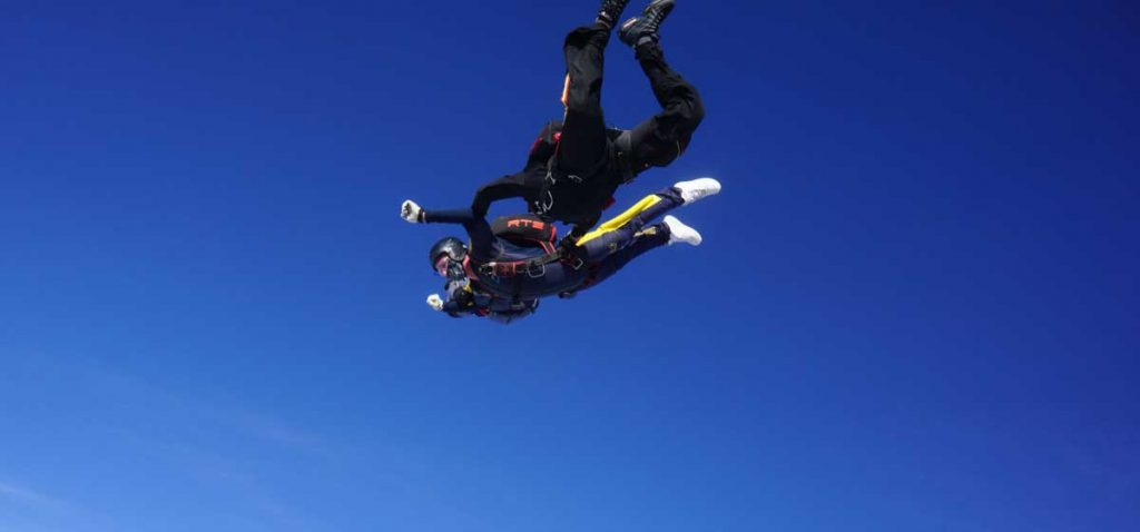 Assisted Charity Freefall Skydive on sunny day